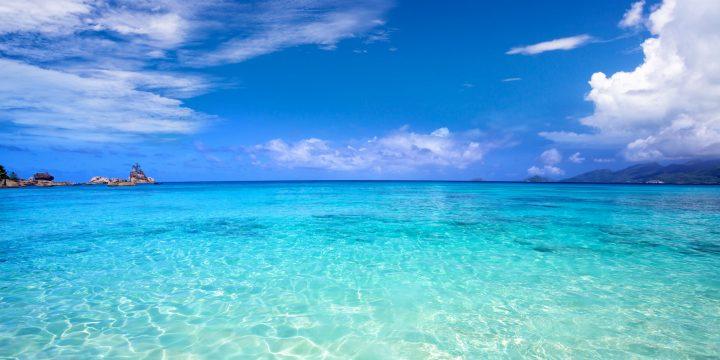 Tropical turquoise bay and blue sky, Mahe Island, Seychelles